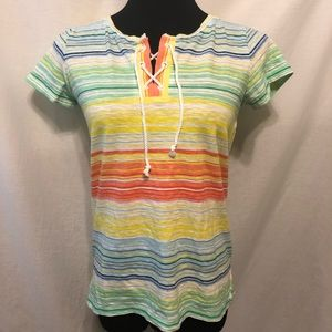 LIKE NEW Talbots Rainbow Striped Lace Up T Shirt